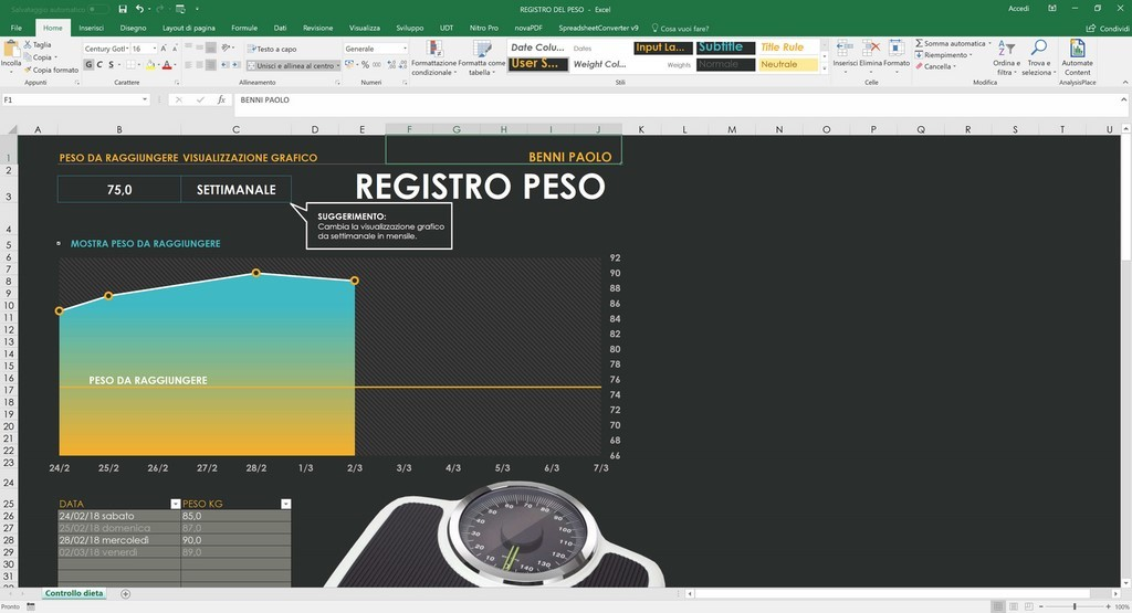 Controllo Calendario Excel 2020.Foglio Gratuito In Excel Per Monitorare La Dieta E Il Peso E