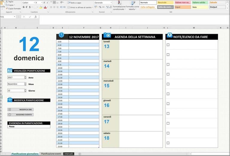 Esempio Calendario Affidamento Condiviso.Agenda Gratuita In Excel Download
