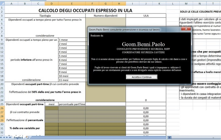 calcolo ula annue gratis in excel